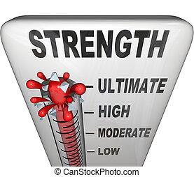 força, nível, medido, ligado, termômetro, ultimate, forte