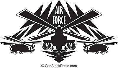 força, -, nós, ar, militar, design.