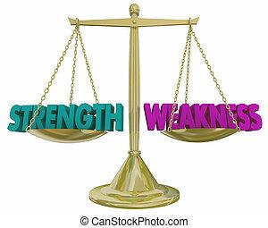 força, pesando, vs, fraqueza, pros, ilustração, contras, escala, 3d