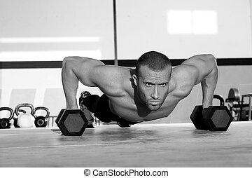 força, push-up, pushup, homem, ginásio, dumbbell