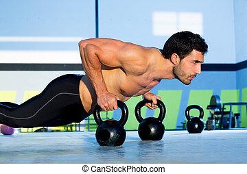 força, push-up, pushup, homem, ginásio, kettlebell