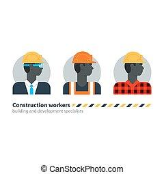 força, vista, trabalho, trabalho, construção, pretas, trabalhador, contratante, homem, lado, ocupação