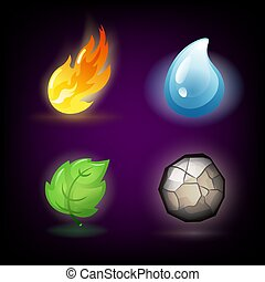 forças, desenho, ecologia, logotipos, quatro, água, emblemas, ar., natureza, fontes, escuro, modelos, terra, fogo, energia, ou, -, elementos, renovável, alternativa, experiência., cartões.