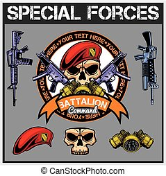 forças especiais, remendo, jogo, -, estoque, vetorial