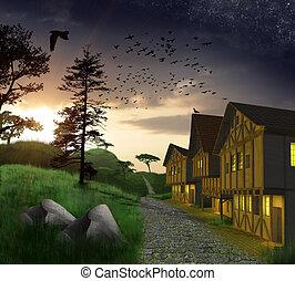 forêt, 3d, coucher soleil, maisons, nature