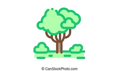 forêt, animation, arbre, icône, jungle
