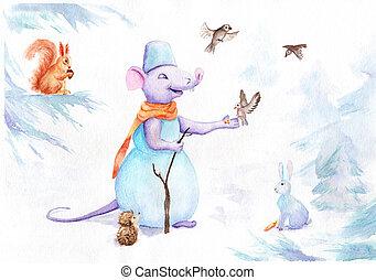 forêt, animaux, bonhomme de neige, dessin, souris, aquarelle