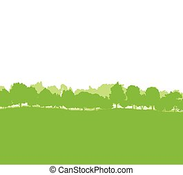 forêt, arbres, silhouettes, paysage