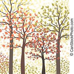 forêt automne, multicolore