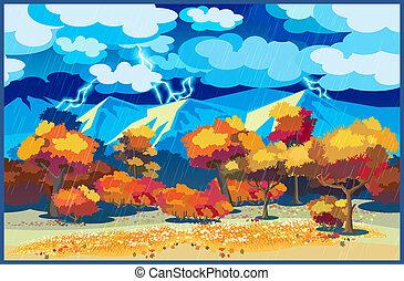 forêt automne, orage