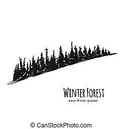 forêt, croquis, conception, hiver, ton