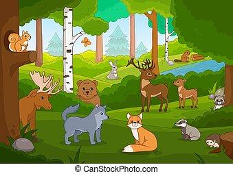 forêt, dessin animé, divers, animaux