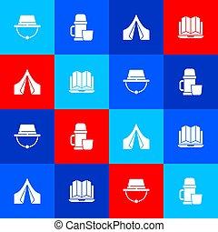 forêt, ensemble, thermos, récipient, tasse, vecteur, camper tente, icon., touriste, chapeau, emplacement, ordinateur portable