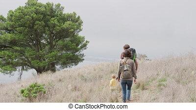 forêt, famille, caucasien, marche