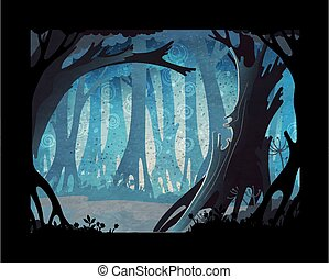 forêt, fond, conte, illustration., vecteur, sombre, brumeux, fée