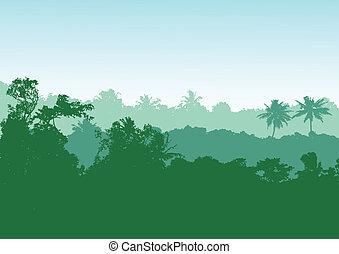 forêt, fond, exotique