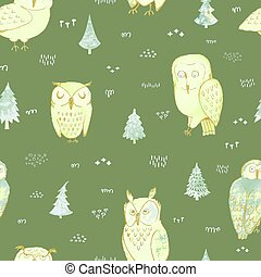 forêt, fond, seamless, hiboux