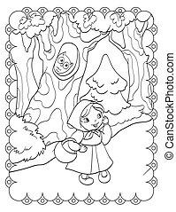 forêt, girl, livre, coloration