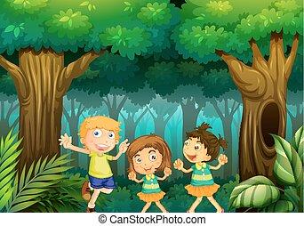 forêt, gosses, trois, danse