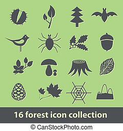 forêt, icônes