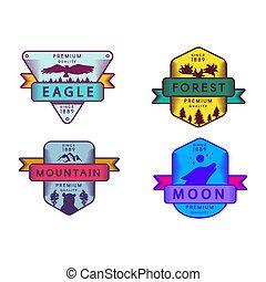 forêt, insignes, ensemble, lune, aigle, montagne