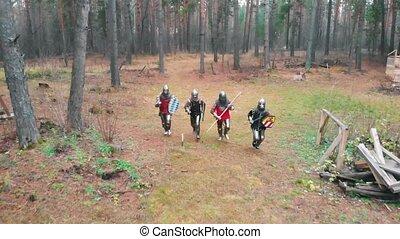forêt, jour, knightes, quatre, hommes, entiers, -, temps, rang, armure, courant