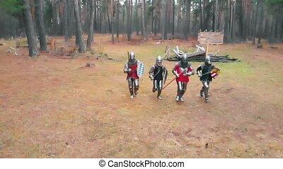 forêt, jour, knightes, quatre, tenue, hommes, entiers, -, temps, rang, épées, armure, métal, courant