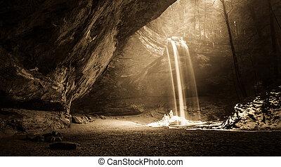 forêt, levers de soleil, mystique