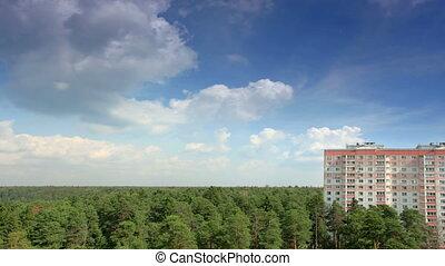 forêt, mouvement, nuages, sur