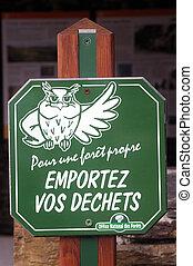 forêt, national, autorité, mené, francais, panneau