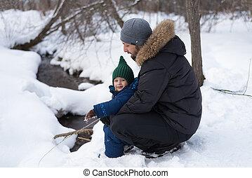 forêt, père, hiver, enfant