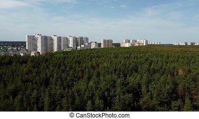 forêt, pays boisé, suburbain, aérien, arrière-plan., vue, ...
