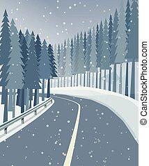 forêt, paysage, hiver, route, neige