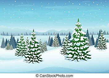 forêt, paysage, noël, fond, hiver