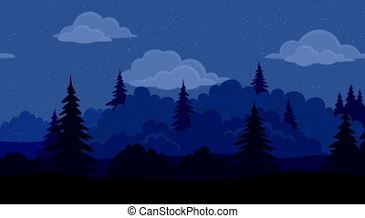 forêt, paysage, seamless, boucle, nuit