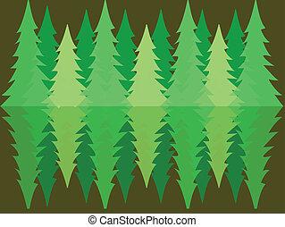 forêt, pin, reflet