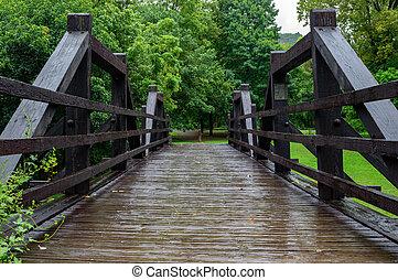 forêt, pont bois