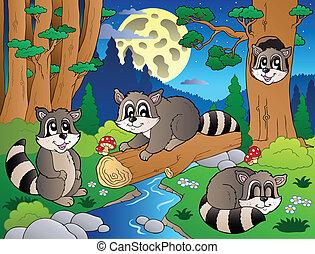 forêt, scène, à, divers, animaux, 8