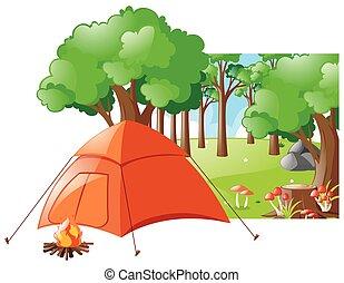 forêt, scène, à, tente, et, feu camp