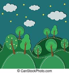 forêt, seamless, nuit