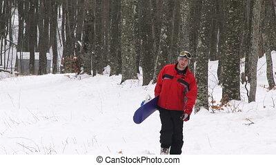 forêt, snowboarder