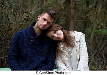 forêt, tête, couple, jeune