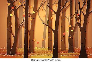 forêt, tomber, leaves., érable, automnal