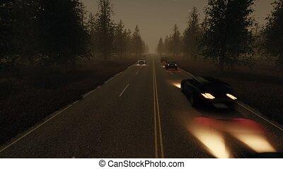 forêt, trafic, nuit, paysage, brumeux