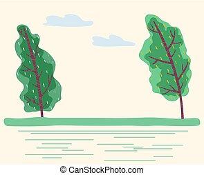 forêt, verdure, parc, vecteur, venteux, temps