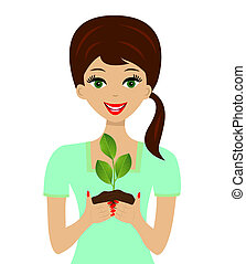 for a woman in hands plant