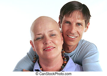 A loving, devoted couple. The wife is undergoing cancer treatment.