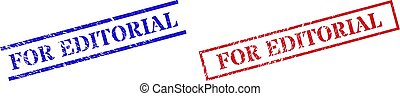 Grunge FOR EDITORIAL rubber stamps in red and blue colors. Stamps have rubber surface. Vector rubber imitations with FOR EDITORIAL tag inside rectangle frame, or parallel lines.