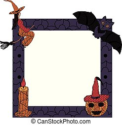 For Halloween. A square frame with a witch on a broomstick, a candle, a bat, a smiling pumpkin in a witch's cap in patterns in the style of Zenart. Vector.