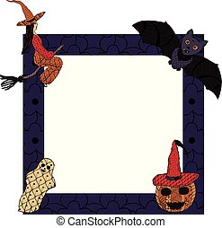 For Halloween. A square frame with a witch on a broomstick, a ghost, a bat, a smiling pumpkin in a witch's cap in patterns in the style of Zenart. Vector.